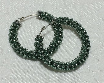 Teal Hoop Earrings Teal Beaded Hoops Hoop Earrings Bead Hoop Earrings Woven Beadwork Seed Bead Earrings Beaded Hoops Turquoise Earrings