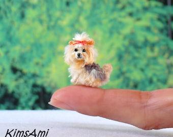 Mini amigurumi Yorkshire Terrier - brown & grey. Comes with FREE handmade display box.