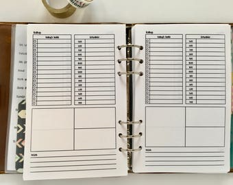Hourly Day on One Page HALF LETTER Size Printed Planner Inserts Fits A5 Filofax, Large Kikki K, Color Crush, Louis Vuitton GM Agendas