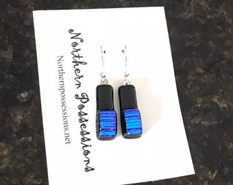 Black Earrings With Blue Accents