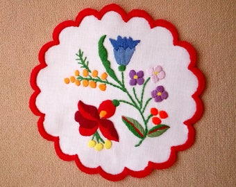 """Hand embroidered 6"""" Kalocsa doily, table ornament, coaster. Traditional Hungarian pattern."""