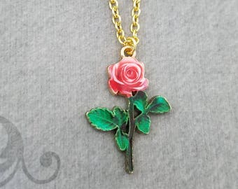 Rose Necklace SMALL Rose Charm Necklace Rose Pendant Necklace Bridesmaid Necklace Flower Girl Girlfriend Necklace Valentine's Day Jewelry