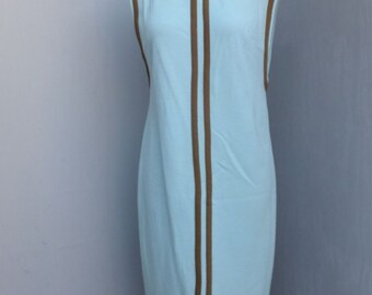 Vintage Dress, Shift Style, 1970s, A Loubella Original, Blue and Brown, Day Dress, Size 10/11