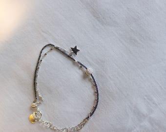 Bracelet black perle carré Etoile