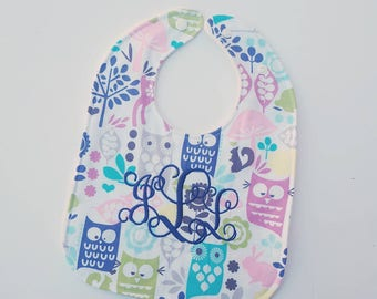 Baby Girl Bibs- drool bibs, woodland baby, adjustable baby bibs, baby shower gift for girls, modern baby, plastic snap bib, Monogram baby