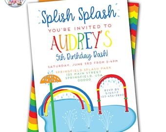 Splish Splash Invitation, Splish Splash Birthday Invitation, Splash Party Invitations, Splash Party, Splash Pad Party, Splash Park Party