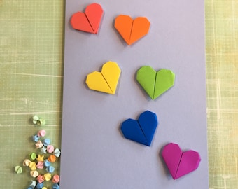 Origami large greeting card - rainbow hearts on blue
