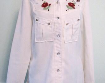 Vintage Jacket BoHo Festival Garden Appliques Roses Butterflies Bernie Bee