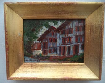 Painting in oil/miniature/houses of the country Basque/frame/vintage Golden wood
