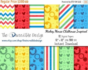 ON SALE Mickey Mouse Clubhouse Inspired digital paper pack for scrapbooking, Making Cards, Tags and Invitations, Instant Download