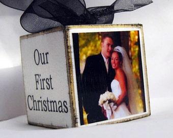 Personalized Wedding Photo Block Ornament Wedding Keepsake Monogram, Our First Christmas Ornament