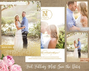Foil Save the Date Cards, Gold Foil Save the Dates, Rose Gold Foil, Silver Foil Mist, Photo Save the Date, Picture Collage