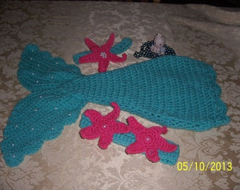 Crochet Baby Mermaid Pattern~Includes Starfish and Shell Top and Tail~Costume~set PhotoProp