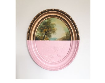 Baby Pink Forest Dipped Wall Art Framed