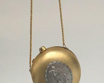 Vintage Metal Evening Bag | Gold & Silver Clutch | Metallic | 1960s
