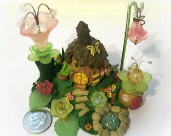 NEWl Acorn Magical Hut, Artisan Bling, Miniature Crystal Flowers, Original, Whimsy Sculpture, Unique Fantasy Scene for Terrarium Collectible