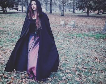 Black Hooded Cloak, ren faire cloak, medieval cloak, witch cloak, fantasy cloak, black cape, renaissance cape, ranger cloak