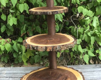 Jumbo 4 tier Elm Wood Collapsible Rustic Cake 110 Cupcake Stand Wedding party shower wooden