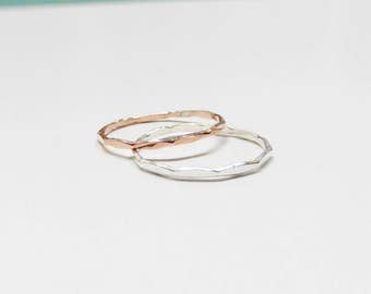 Copper and sterling silver ring combination,1mm hammered stacking rings