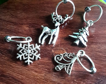Silver Snag Free Stitch Markers, Holiday Knitting Stitch Markers, Gift for Knitters, tree Stitch marker set, lightweight ring stitch markers