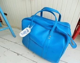 Vintage Luggage, 1960's, Teal Vinyl, Carry-on, Medium Suitcase, Weekend  Bag