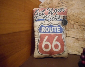 Shelf Pillow Tuck: Route 66 Primitive Rustic Americana Pillow Tuck with Route 66  button