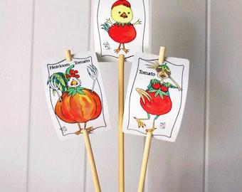 3 Vegetable Signs Tomato Set for Gardens Humor Decor Aluminum UV Safe bamboo stake