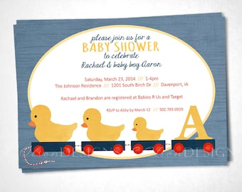 Duck Toys Baby Shower or Event Inivtation - Blue - DIY Printable