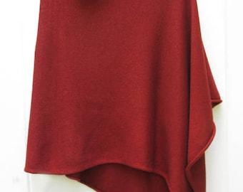 Red Wine 50/50 Cashmere Silk Poncho