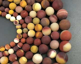 natural mookaite jasper beads, red yellow white mookaite jasper, round matte beads, loose gemstone beads 4mm 6mm 8mm 10mm 12mm 15'' strand