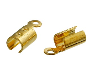 100 Crimp Ends with Loop, Gold Plated   (1I-243)