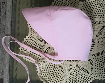 Solid Pink Bonnet ~ Bonnet with Brim ~ Baby Bonnet ~ Made in Canada ~ Sunhat ~ Newborn Bonnet ~ Brimmed Bonnet ~ Baby Gift ~ Girls Sun Hat