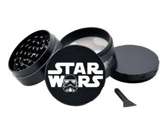 STAR WARS Black Herb Grinder Engraved Metal Grinder with Glass Windows Spice Grinder Tobacco Crusher Pot Head Gift Stoners