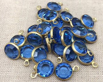 2 Rare Vintage 47ss Sapphire Blue Swarovski One Loop Chanel Rhinestone Findings 12mm