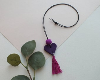Plum Heart Necklace with Magenta Bead and Tassel