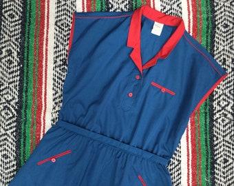 Vintage Uniform Style Dress - Blue & Red