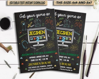 INSTANT DOWNLOAD-Video Game Invitation, Gaming Invitation, Video Game Party, Video Game Truck Invite, Birthday, Arcade, Digital, PDF
