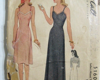 1940s Vintage Full Slip Pattern McCalls 5160, Fitted Bodice, 2 Lengths Day Dress & Maxi Formal Evening Gown, WWII 1943 Dated, Bust 32