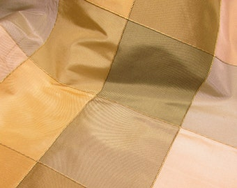 "Greens & Cream Checks - Woven Silk Fabric, 55"" x 36"""