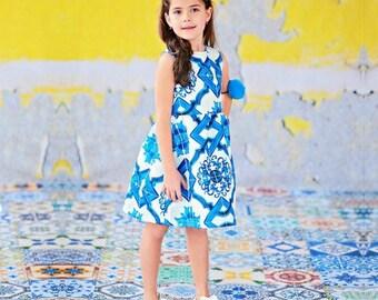 Blue white greek style dress