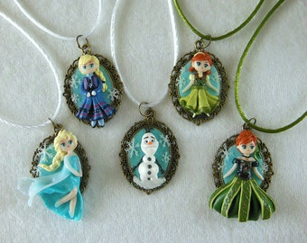 Frozen Kamee / Frozen Jewelry / Elsa Necklace / Anna Necklace / Olaf Necklace / Princess Jewelry / Polymer Clay Jewelry