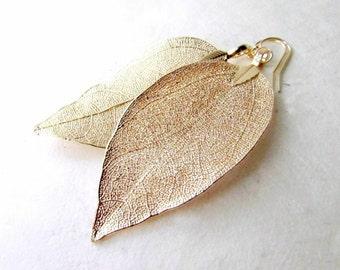 Gold Leaf Earrings, 14kt Gold Leaf Earring, Delicate Gold Earrings, Ethereal Wedding Earrings, Bridal Gold Dipped Real Leaf Dangle Earrings