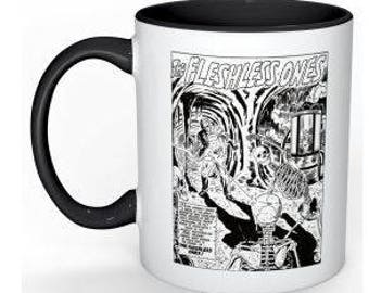 The Fleshless Ones on 11 oz coffee mug; vintage horror comic image