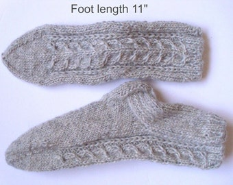 "Wool socks hand knit. Foot length 11"".  Boot socks.  Boot liners. Slipper socks.  Light grey very thick wool . Cable pattern. Ready to ship."