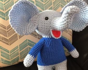 Handmade crochet blue Elephant