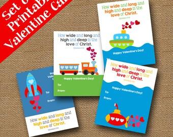 Transporation Valentines | Boat, Train, Rocket, Submarine Valentines | DIY  PRINTABLE | Boys
