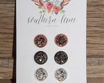 4 Pair Druzy Earring Set - 8mm Rose Gold, Gunmetal, Silver & Gold