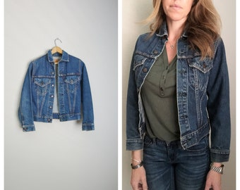 vintage 70s womens Levi's cropped denim jean jacket type 3 trucker -- womens xsmall small petite