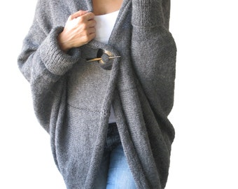 Over Size - Plus Size Gray Wool Overcoat - Poncho - Cardigan