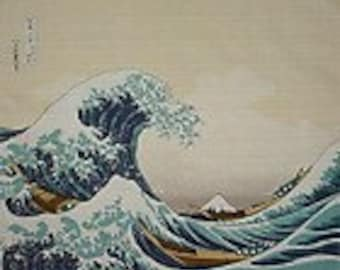 Japanese Wave Fabric Furoshiki Hokusai's 'The Great Wave' Cotton Japanese Fabric Hokusai 48cm w/Free Insured Shipping
